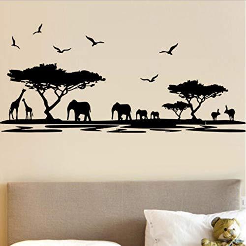 shensc Naturaleza África Elefantes Jirafas Animales Pegatinas de Pared para el Cuarto...