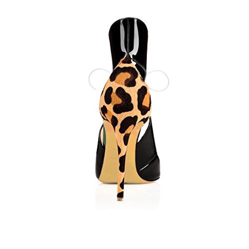EDEFS - Escarpins Femmes - Bride Cheville - Talon Haut Aiguille - 120mm Stiletto - Leopard Lacets Chaussures Black