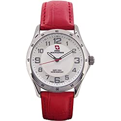 Swiss Mountaineer Ladies Wrist Watch Red Leather Band White MOP Dial Easy Read SM8051