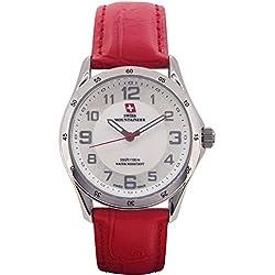 Swiss Mountaineer Damen Armbanduhr-Rotes Ledernes Band-Weiß MOP Zifferblatt Einfache Lesen SM8051