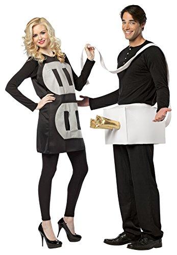 Rasta Imposta 7233 Schwarz-weißes Leichtes Kostüm für Paare Stecker und Steckdose ()