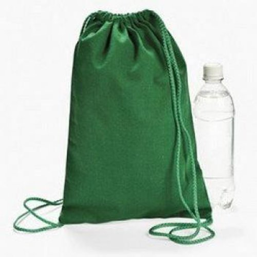 (Green Drawstring Backpacks (1 Dozen) - BULK)