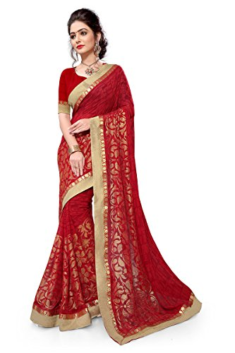 Viva N Diva Sarees For Women's Party Wear Red Colour Georgette Saree...