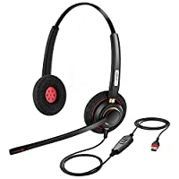 USB Headset with Microphone Noise Cancelling & Audio Controls Ultra Comfort Computer Headset for Business Skype UC Webinar Call Center Office