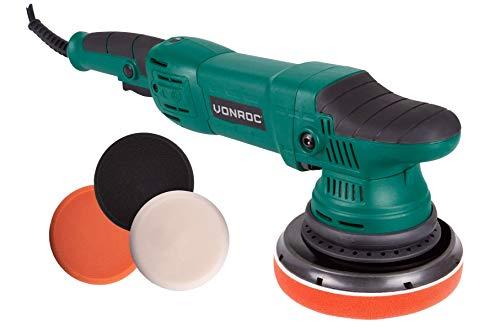 VONROC Exzentrische Poliermaschine Set/Dual Action/Poliermaschinen-Set - Konstant-Elektronik - Soft Start - 150 mm - 1050 W - einschließlich 4 Polierscheiben, Stützscheibe und Tasche