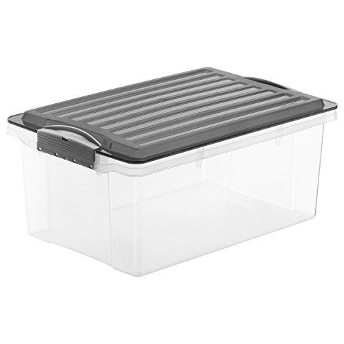 Kunststoff Aufbewahrungsbox (Rotho 1776008812 Aufbewahrungskiste Compact mit Deckel, Lager Box aus Kunststoff im DIN A4 Format, Inhalt 13 L, Plastik, transparent/anthrazit, 39.5 x 27.5 x 18 cm)