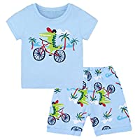 CM-Kid Boys Pyjamas Toddler Summer Short Pjs for Kids 100% Cotton Sleepwear T-Shirt & Striped Shorts 2 Piece Set Clothes Age 1-7 Years