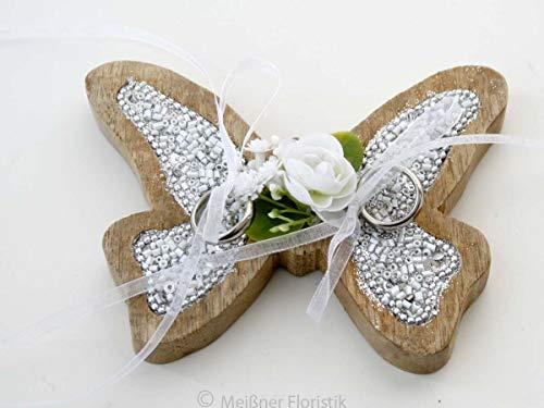 Ringkissen Holz Herz Schmetterling silberfarbener Glamour