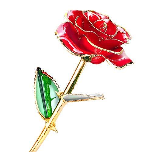 fce9d50df8 Merisny 24 K Oro Rosa Fiore con Stelo Lungo immerso in Oro Rosa Regalo per  Donne