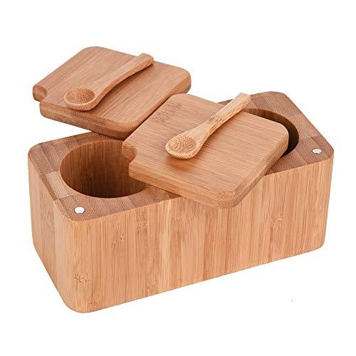 Bambus-Salz-Pfeffer-Gewürz-Box mit magnetischem Deckel, 2 Töpfe für Kräuter und Gewürze + 2 Mini-Salzlöffel - Mini-bambus-box
