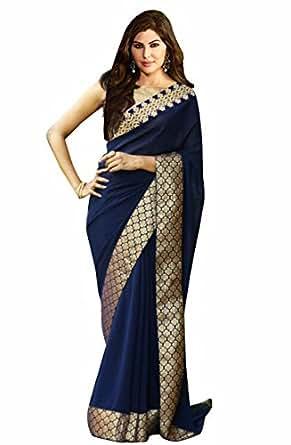 d1b95e55e0b ... Indian Beauty Women s Blue Georgette   Golden Zari Banarasi Silk Border  Saree With