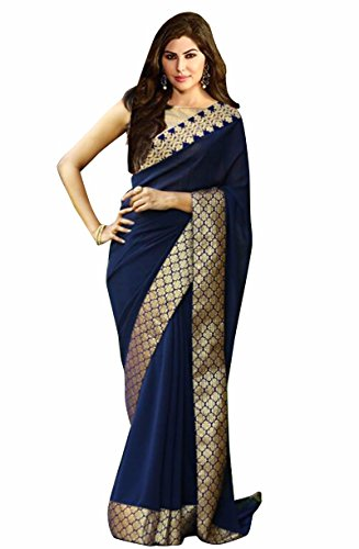 Indian Beauty Georgette Saree With Blouse Piece (IB-1103_Blue_Free Size)