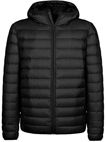 Wantdo Homme Doudoune à Capuche Ultra Légère Manteau d'hiver en Duvet Hiver Noir Larg