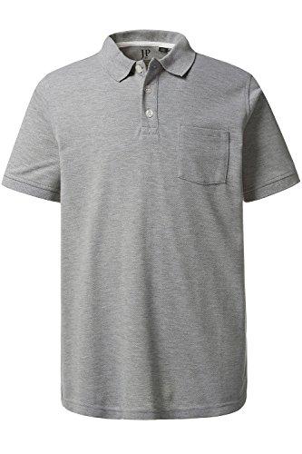 Pique V-ausschnitt Jersey (JP 1880 Herren Große Größen bis 7 XL | Polohemd | Polo-Shirt Aus Piqué Jersey | Regular Fit | Kurzarm, V-Ausschnitt & Hemdkragen | Brusttasche & Melange | Grau-Melange 3XL 708320 12-3XL)