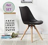OYE HOYE Stilvolle Retro Artisan Esszimmerstühle/Bürostühle - 4er Set - mit Robustem Buchenholz, weich Gepolstertem Sitz - langlebig - 002-Schwarz