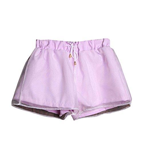 Molly Femmes Drawstring Ajustable Épissage Loisirs Mince Shorts Violet clair