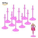 ASIV 10x Soporte de Exhibición de Ropa Accesorios Para Barbie Muñeca Rosa