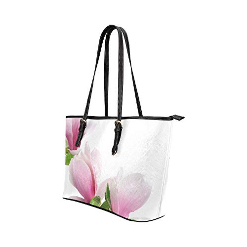 Delicate Beautifui Magnolia Large Soft Leather Portable Top Handle Hand Totes Bags Causal Handbags With Zipper Shoulder Shopping Purse Luggage Organizer For Lady Girls Womens Work