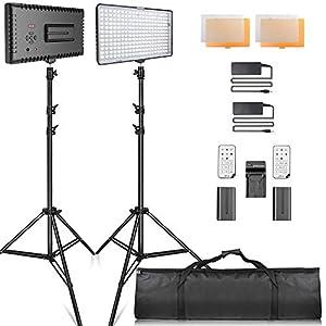Video Licht LED, SAMTIAN LED Videoleuchte Kit FotografieBeleuchtung mit Ständer LED Panel Set 240pcs 3200 / 5600K für YouTube Studio Fotografie