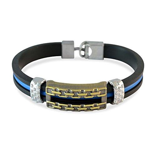 Sarah Black Chain Design Strap Bracelet For Men