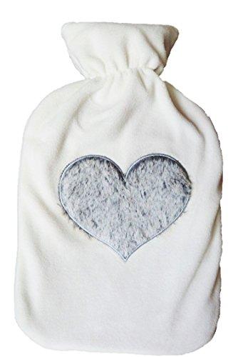 Große Wärmflasche 2L mit Fleece Bezug und Herz Motiv
