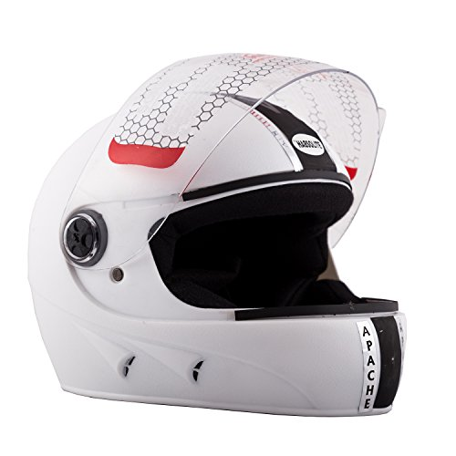 Autofy Habsolite Apache Full Face Helmet (White, M)