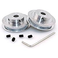 BIQU GT25mm 60Zahn- Bohrungs-Aluminium Zahnriemenscheibe für 3D Drucker 6mm breiter Gürtel (2er Pack)