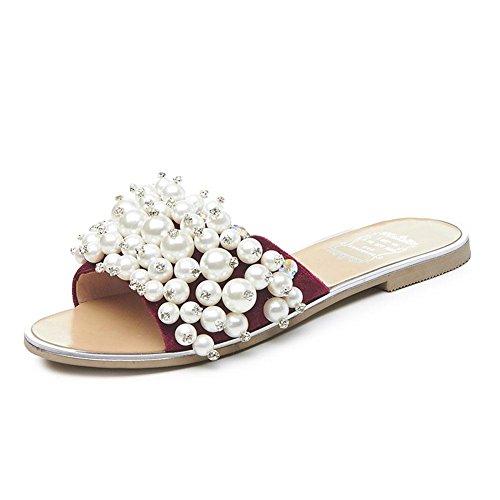 Aleta Mulas Shinik Sandálias De Dedo Aberto Artesanal Frisado Sandálias De Praia Sapatos Baixos Chinelos Casuais Para Mulheres Vermelhas