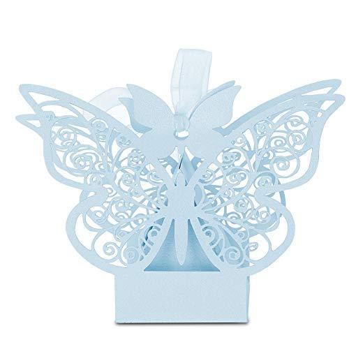 100 Stück Hochzeits-Geschenkboxen für Süßigkeiten und Zucker/Schokolade faltbare Boxen für Geburtstag, Hochzeit, Party, Gastgeschenk hellblau