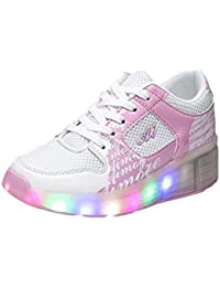 Zapatos unisex con ruedas de skate para Niños Chicas Chicos Led luces de 7 colores cambio de color zapatilla de deporte