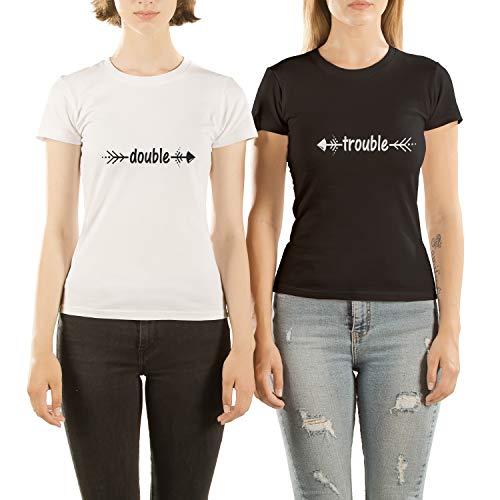 VIVAMAKE® 2 Best Friends Mädchen T Shirt Set für Damen mit Lustige Aufdruck Double Trouble