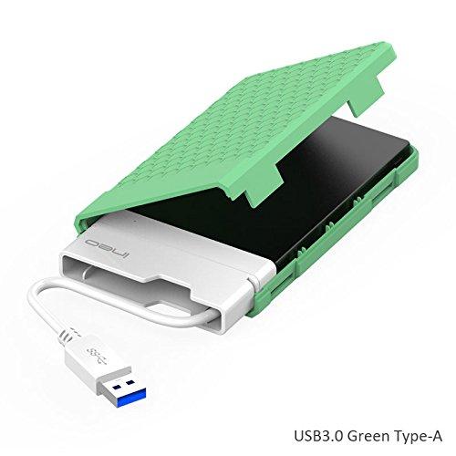 Open-box Apple (USB 3.0 Externes Festplatten Gehäuse für 2,5-Zoll SATA HDD/SSD mit integriertem USB-Kabel, Festplattengehäuse Caddy Hard Drive Enclosure Case, Tool-free, UASP, Typ A)