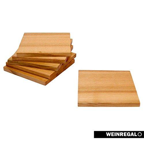 WEINREGALO Untersetzer Kirsche | 10 x 10cm für Gläser aus Holz - 6er Set - Glasuntersetzer für Tisch und Bar (2 Aus Nussbaum Stück Tisch)