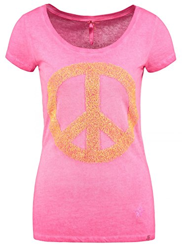 Key Largo Damen T-Shirt WT PEACE Stern Logo Zeichen Basic Glitzer Optik pink M (Logo Sterne)