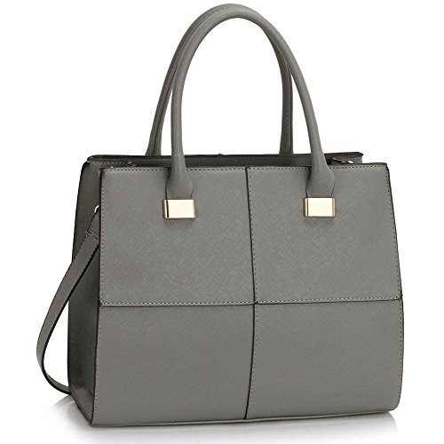 - 41ctNDq3NeL - ANNA GRACE Womens Handbags Ladies Designer Shoulder Bag Faux Leather 3 Compartments Large Tote Bags