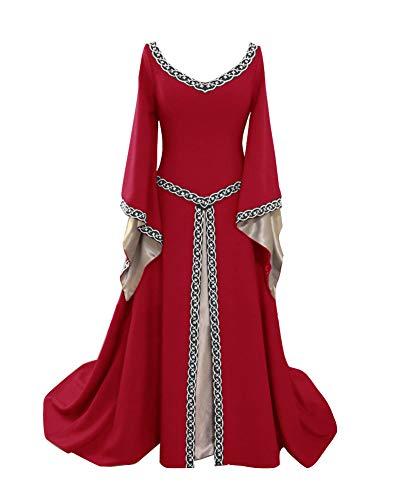 Guiran Damen Mittelalter Kleid Halloween Party Kostüm Renaissance Lange Kleider Mittelalterkleid Weinrot M