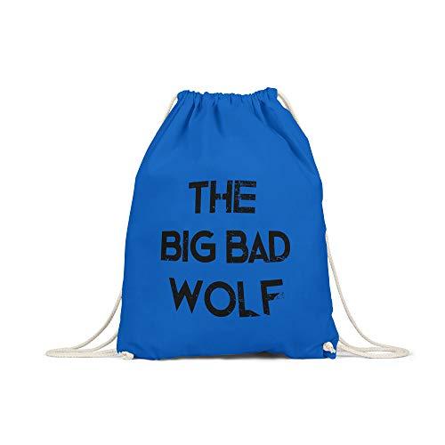 licaso Turnbeutel Bedruckt The Big Bad Wolf Print in Royalblau Gym Bag mit robuster Kordel Beutel Motiv Druck Ökologisch & Nachhaltig Tragetasche 100% ()