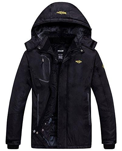 Wantdo Homme Anorak Veste de Ski Coupe-Vent Étanche Blouson Imperméable en Polaire Coupe-Pluie pour Hiver Noir X-Large