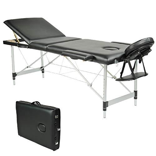 Wellhome lettino da massaggio 3 zone alluminio pieghevole portatile lettini massaggi professionale tavolo da massaggio tattoo fisioterapia con borsa da trasporto xxl(nero)