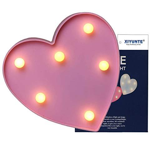 (LED Herz Form Nachtlicht – Herz Wand Home Decor Rosa innen Beleuchtung Festzelt Ligths batteriebetrieben Bett und Tisch Lampen Night Lights für Wohnzimmer, Weihnachten, Party, Mädchen Schlafzimmer)