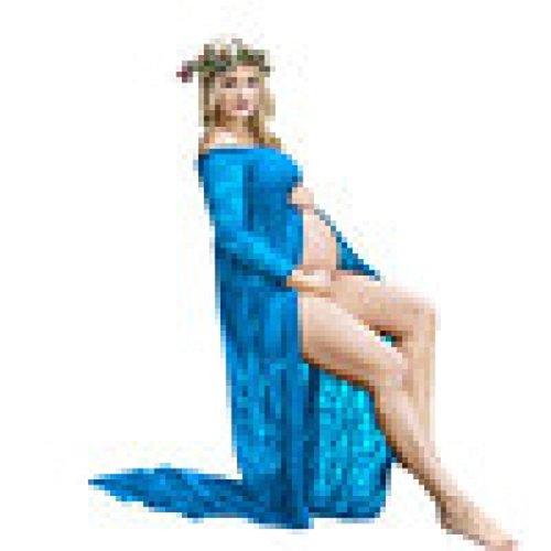 Schwangere Fotografie Stützen, Dasongff Frauen Schwangere Kleid Spitze Lange Ärmel Kleid Split Front Foto Shoot Kleid Schwangere Frauen Foto-Shooting Schwangerschafts Kleid (M, Blau)