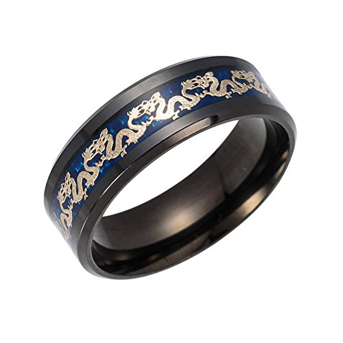 PAMTIER 8mm Keltisch Edelstahl Ring für Männer Frauen Schwarz Drachen Design Hartmetall Hochzeit Band Größe 54 (17.2) - Für Frauen Hochzeit-band-ring