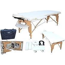 H-ROOT Mesa de Masaje de 2 Secciones Portátil Ligera Grande Camilla de Masaje Terapéutica Tatuaje Salón de Belleza Reiki Sanación Masaje Sueco con Bolsa de Transporte GRATIS 12,8 KG (crema)