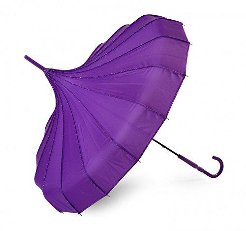 Pagodenschirm purple / violett mit weißen Punkten entlang der Naht / Pagode Polka Dots / Regenschirm / Schirm / Sonnenschirm polkadots (Punk-polka Dot)