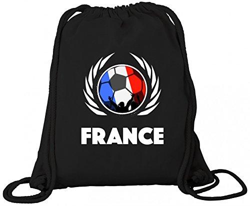 France Fanfest Fussball WM Bio Baumwoll Turnbeutel Rucksack Gym Bag Fußball Frankreich Black