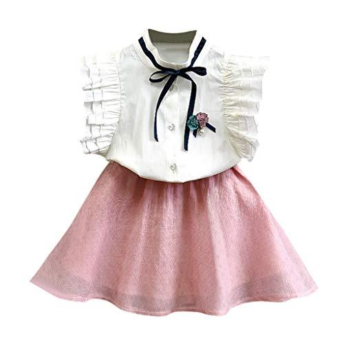 Alwayswin Kleinkind Kinder Baby Mädchen Outfits Kleidung Blume Bowknot Shirt Top + Short Skirt Set Abschlussfeier Kleid Gesetzt Sommerkleid in A-Linie Lässige Studentenkleidung