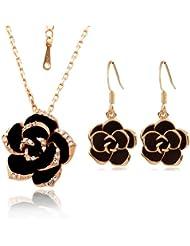 Yoursfs collar chapado en oro con encaje cristal y marrón 0 negro flor y pendientes sets para los mujeres conjuntos