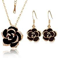Yoursfs - Set composto da collana e orecchini, placcati in oro rosa 18k, con cristallo austriaco, motivo floreale, colore: Nero - Strass Floreali Collana Orecchini
