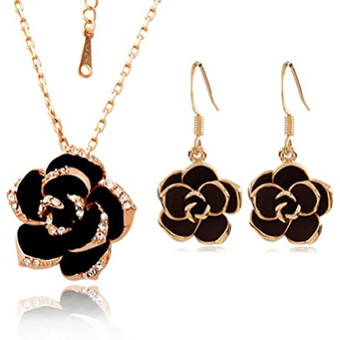 Yoursfs collar chapado en oro con encaje cristal y marrón 0 negro flor y pendientes sets para los mujeres