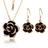 - 41ctTXKLrcL - [Jewellery Set] Yoursfs Sexy Black Rose Jewellery Sets Golden Edge Black Flower Pendant on 18ct Gold Plated Paved Austrian Crystals Necklace & Earring Sets Women Dress Jewellery Sets
